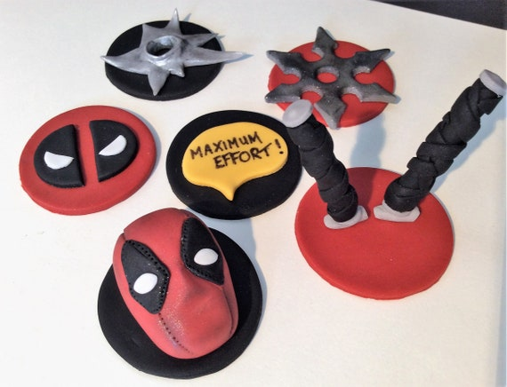 Edible Fondant Marvel Deadpool Cupcake Toppers | Etsy