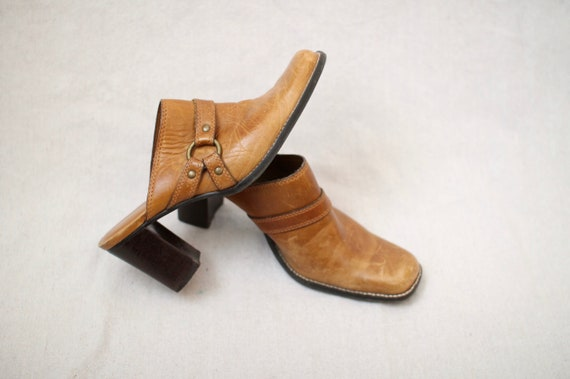 Leather Block-Heel Mules - image 3
