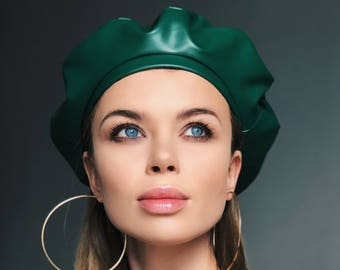 leather beret, green leather beret, green headdress, beret hat, leather hat, leather headdress, beret for women, beret for men