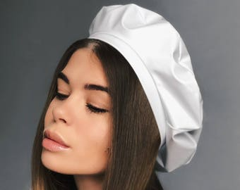 white beret, white leather beret, latex headdress, latex beret, white latex, white hat, white beret hat, leather beret, berets, mens beret