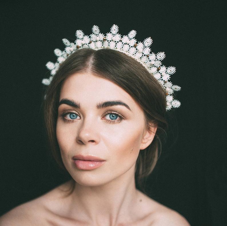 headdress bohemian crown diadem tiaras hair accessories lace tiara lace headpiece lace headband lace crown bridal lace headdress