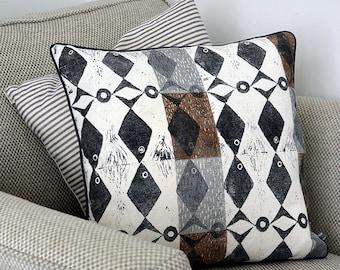 Lily's Fish Cushion - Hand Printed Cushion - Lino Block print - Fish Print - Scandi design - mid-century design - linen cushion - black fish