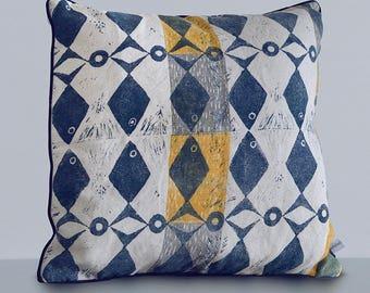 Lily's Fish Cushion - Hand Printed Cushion - Lino Block print - Fish Print - Scandi design - mid-century design - linen cushion - blue fish
