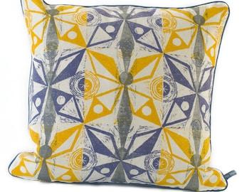Moth cushion/Block printed cushion/Hand printed cushion/Moth design/Mid-century design