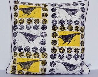 Babble Thrush Cushion/bird cushion/block printed cushion/hand printed cushion/mid-century design/linen cushion