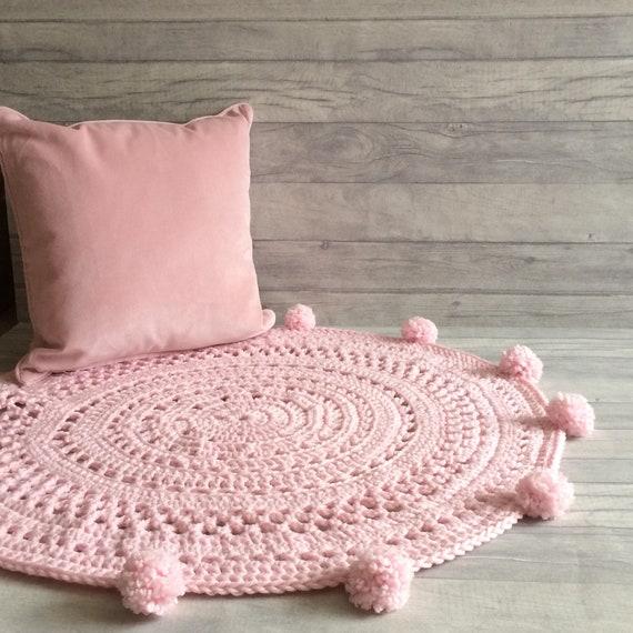 Pom Pom Teppich rosa Kinderzimmer-Teppich mit Pom Poms | Etsy