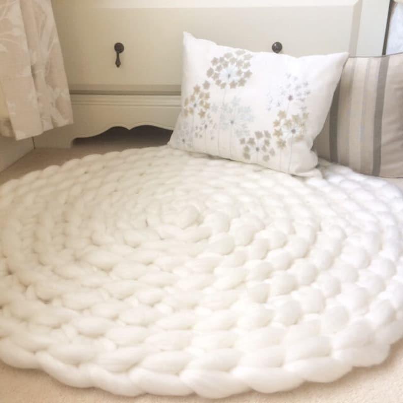 Bedroom Rug Neutral Rug Giant Knit Rug Crochet Rug White   Etsy