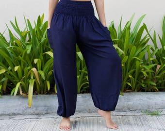 ab7e002989 Women s High Waisted Harem Pants Solid Color Navy - Bohemian Pants Yoga  Pants Gypsy Hippie Pants Aladdin Boho Thai Pants Festival Pants