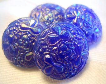 Vintage iridescent dark blue glass buttons ~ Set of 4 at 3/4 inch