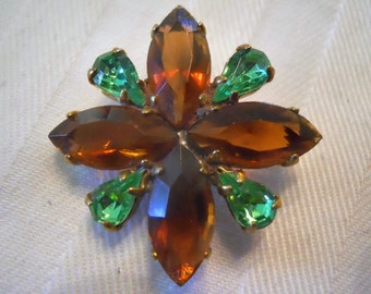Vintage Amber and Green Rhinestone Button~ 1 1/4 inch