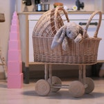 Wicker Baby Carriage, Wicker Doll Stroller, Wicker Doll Pram, Natural Doll Carriage, Wicker Willow Doll Stroller, Doll Stroller, Doll Pram