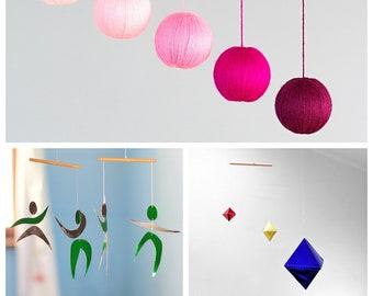 Set of 3 Montessori mobiles - Pink Gobbi, Octahedron, Dancers. Crib toy. Baby mobile. Hanging mobile. Montessori mobile. Essential. Classic.