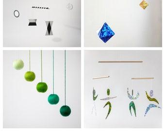 Set of 4 x montessori mobile - Munari, green Gobbi, Octahedron, Dancers. Montessori mobile, Baby mobile, Hanging mobile, boy, girl