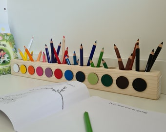Montessori Inspired Pencil Holder. Crayon Holder. Color Sorting. Pencil Organizer. Wood Pencil Holder. Drawing with Kids. Art for Kids.