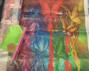 1 colorful butterfly dream catcher diamond painting kit 30x 40 partial drill ..destash USA seller