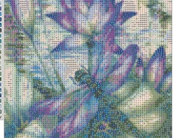 1  dragonfly pond  diamond painting kit 30x40 full drill .Note in description ...destash USA seller
