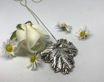 Pure silver leaf pendant