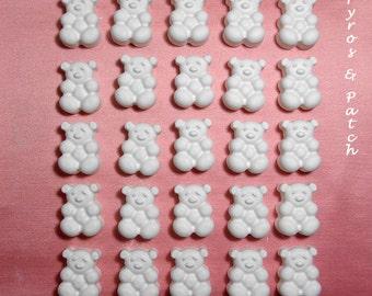 Insieme degli 25 gessetti bianchi a forma di orsi per decorare Bomboniere nascita o Cerimonia memorie - Set di 25 gessetti bianchi orsetti per decorazione