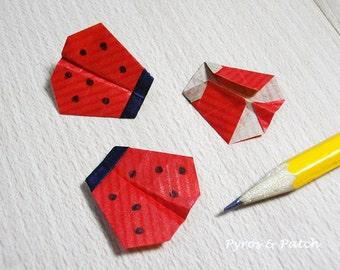 """Set di 12 Coccinelle 1"""" origami, tag decorazione, biglietti d'auguri e partito inviti Set 12 coccinelle origami per decorare biglietti, tag"""