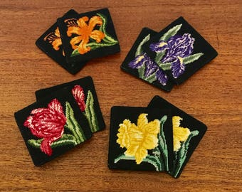 Vintage Embroidered Floral Coaster Sets