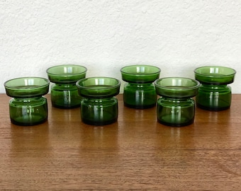 Dansk Designs IHQ Jens Quistgaard Denmark Green Glass Votive Candle Holders- Three Pairs Available