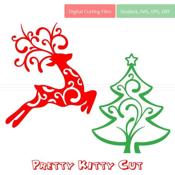 Reno y árbol de Navidad SVG cortan archivo svg studio3 dxf   Etsy