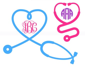 Stethoscope Heart SVG Monogram Frames instant download cut file - svg, studio3, dxf, eps - Medical Cutting Files for Cricut, Silhouette