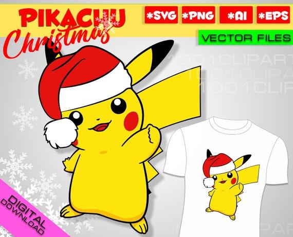 Christmas Pikachu.Pokemon Svg Pikachu Svg Christmas Svg Pokemon Go Svg Pokemon Clipart Pikachu Party Pikachu Birthday Printable Christmas Digital Clipart