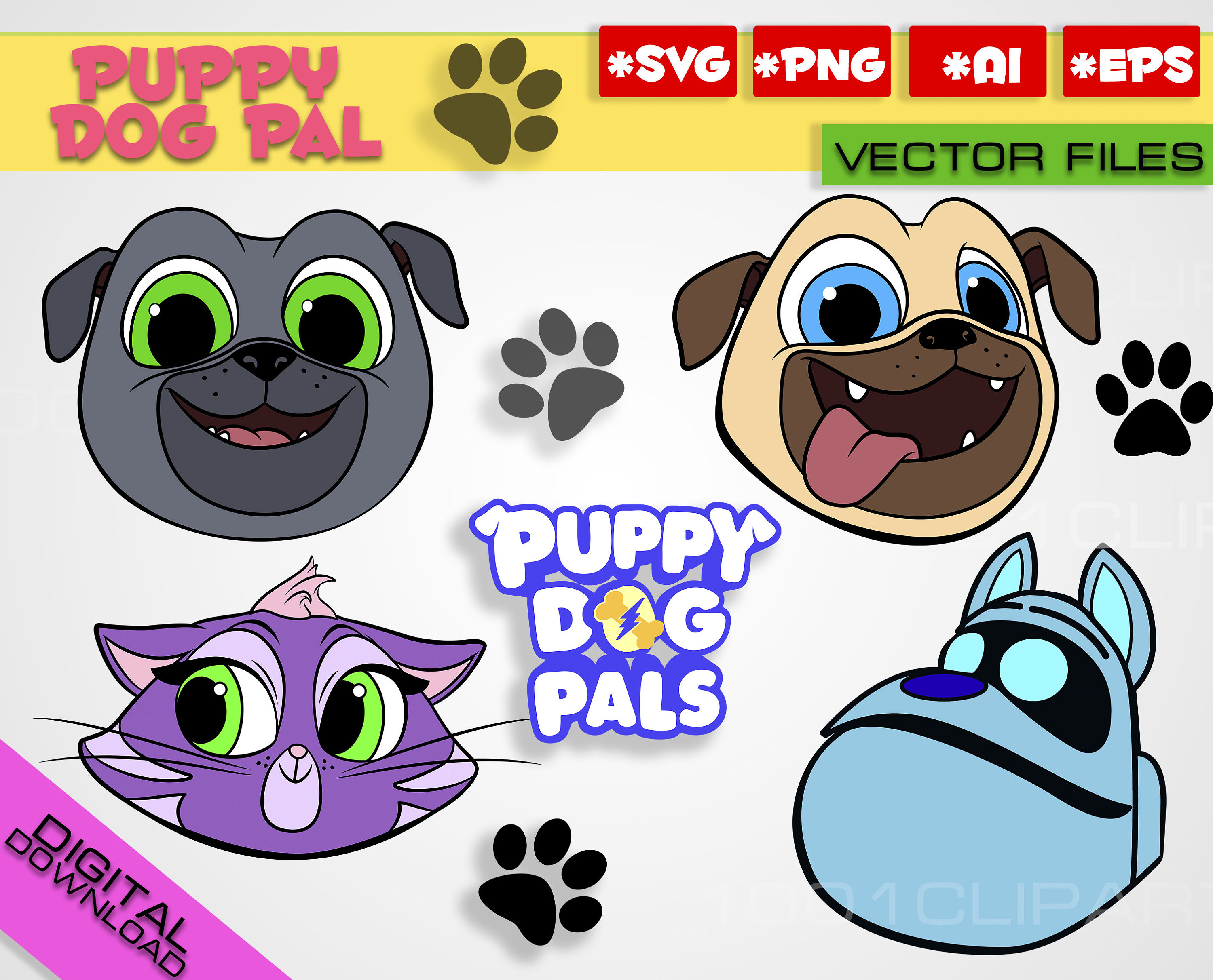 Puppy Dog Pals Svg Png Rolly Bingo Hissy A R F Clipart Puppy Etsy