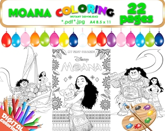 Moana Coloring 22 pages JPG PDF file 300dpi Images Digital Moana Clipart birthday Nickelodeon Coloring party Black and White pictures