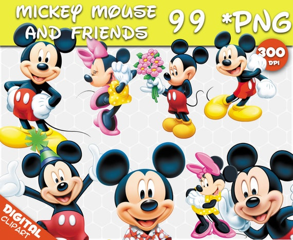 Mickey Mouse Minnie Mouse Clipart 99 Png 300dpi Beelden Etsy