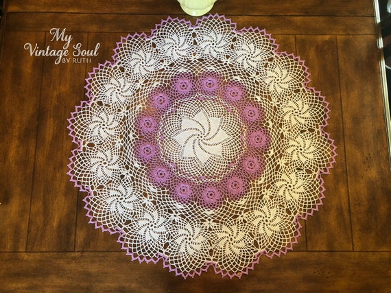 Vintage Crochet PATTERN to make Violet Flower Doily Centerpiece Mat Motif Violet