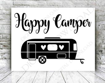 SVG Quote Clipart Happy Camper Vector Download Vinyl Silhouette Jpg Png Svg Pdf Camping For Shirt Typography Sign