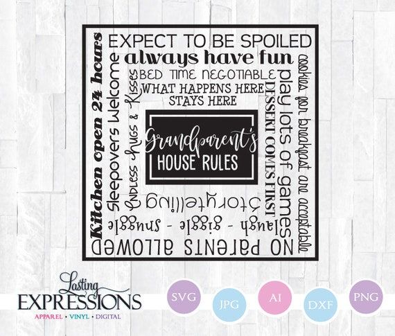 Svg Quote For Cricut Grandparent S House Rules Wood Sign Etsy