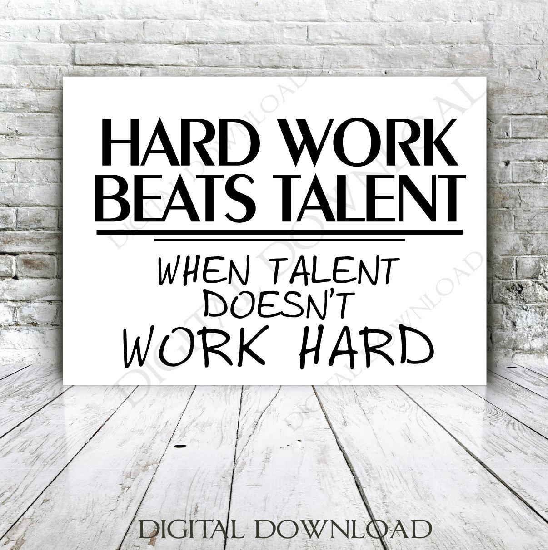 Hard Work Beats Talent Quotes: Hard Work Beats Talent Quote Vector Digital Design