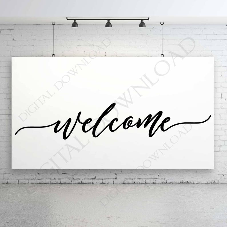 Welcome Design for Cricut Vinyl Crafts, Welcome Font Design Vectorized,  Silhouette Sign Stencil, DXF Laser Cutting File, Welcome Printable
