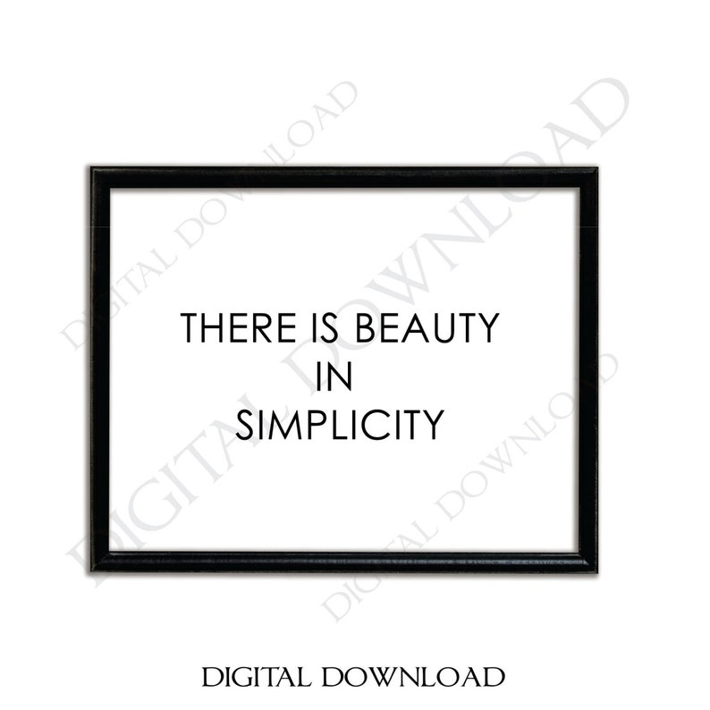 Beauty In Simplicity Quote Vector Digital Design Download Etsy