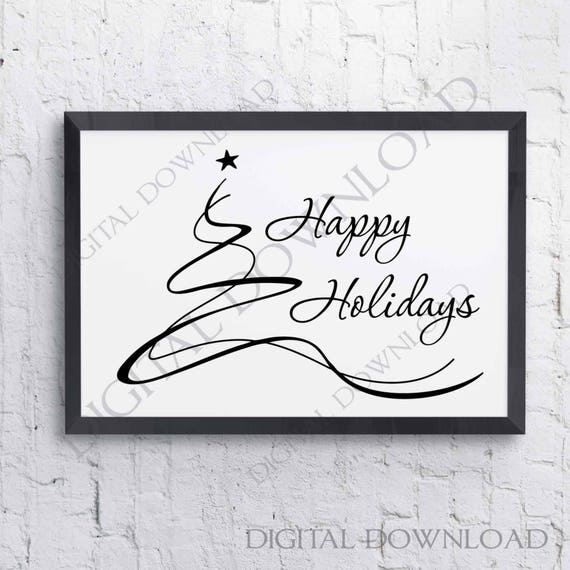 DIY Silhouette Stencil Christmas SVG Vector Quote Christmas Sign Home Decor Tree Clipart Merry Christmas Tree Holiday Card to Print