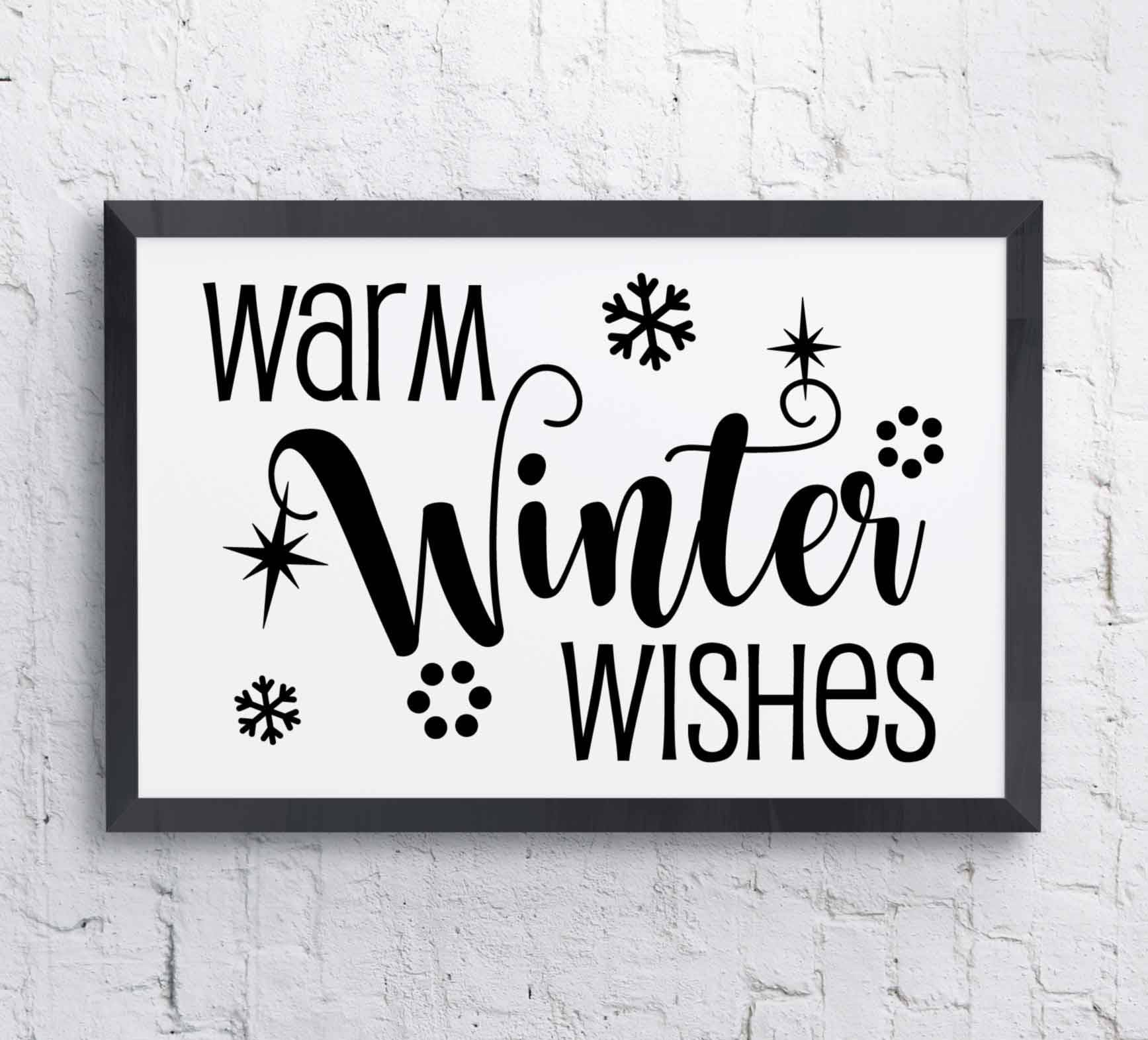 Warm Winter Wishes Christmas Card Print Clipart Quote | Etsy