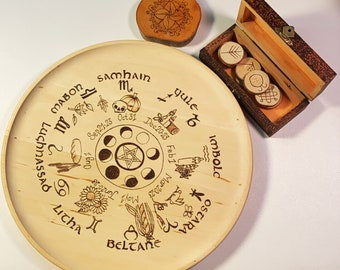 Wheel of the Year Plate with Sabbat Altar Tiles - Altar Decorations