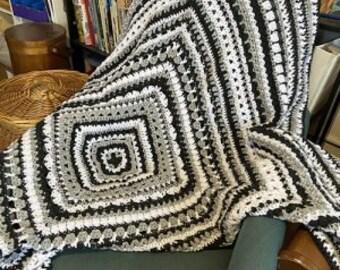 Black, White, Gray Crochet Sampler Blanket