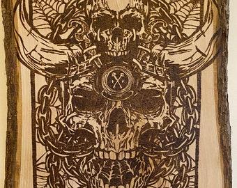 Skull on Skull Wood Burning Wall Art