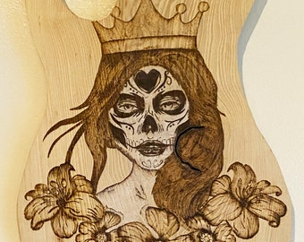 Sugar Skull Lady Wood Burning Guitar Wall Art - Skull Art - Wood Wall Decoration - Pyrography Decor