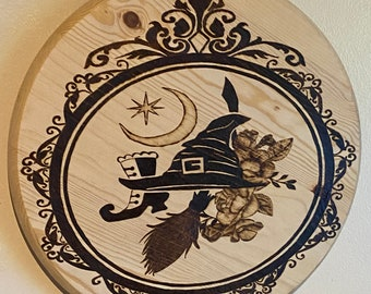 Witch Hat Shoe Broom Wood Burning Wall Art