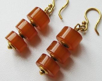 Vintage earrings, vintage amber earrings, amber earrings, goldplated earrings, womens earrings, amber
