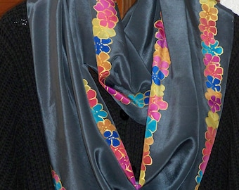 long handpainted Crêpe de Chine-Silkscarf with colourful flower pattern on dark background - one of a kind - wearable art Accessories Women