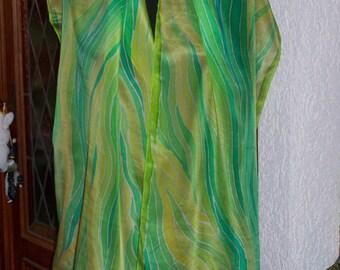 "Silkscarf ""Märzblatt"", Crêpe de Chine, Silk, Scarf, shawl, long scarf, handpainted, silkpainting, wearable art, one of a kind"