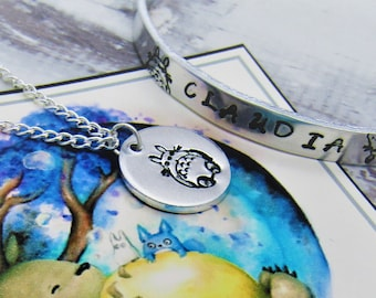 My Neighbour Totoro Inspired Personlised Bangle and Pendant Set, Studio Ghibli, No Face, Soot Sprite, Anime
