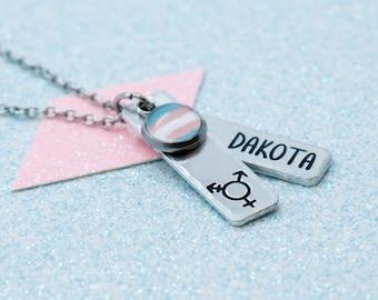 Personalised Transgender Pendant Necklace, Transgender Pride, LGBT Jewellery, Sparkle Event, Non Binary, LGBT Pride, Gay Pride