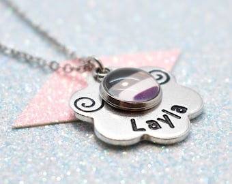Floral Asexual Pride, Personalised Necklace